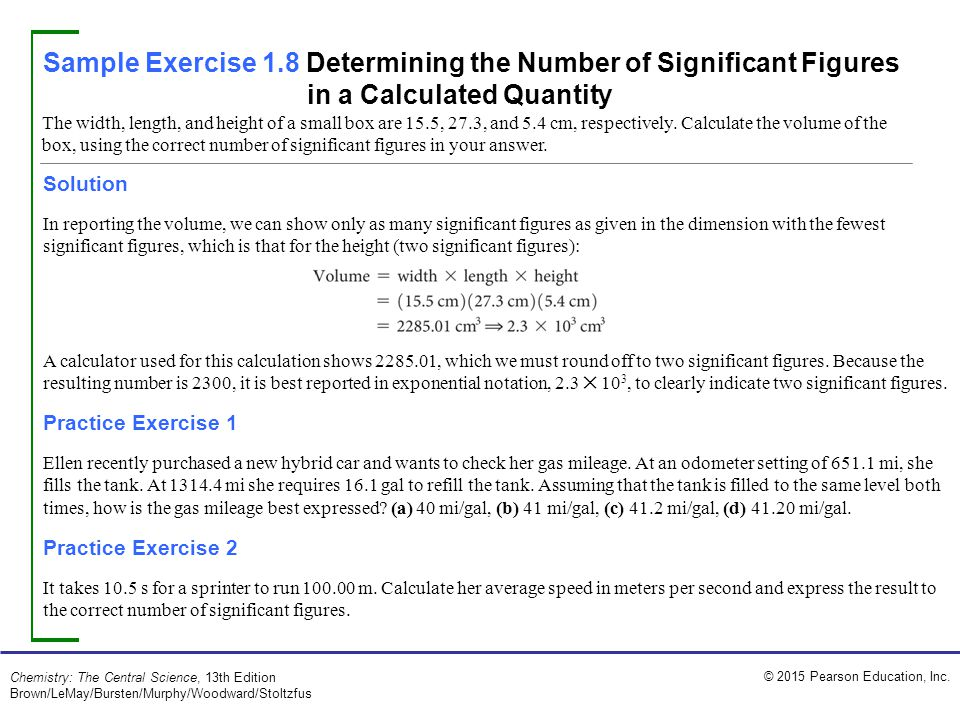 Sample Exercise 1.8 Determining the Number of Significant Figures in a Calculated Quantity