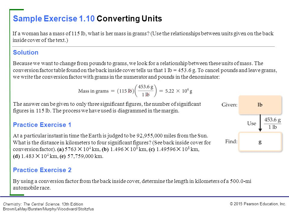 Sample Exercise 1.10 Converting Units