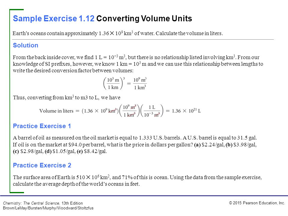 Sample Exercise 1.12 Converting Volume Units