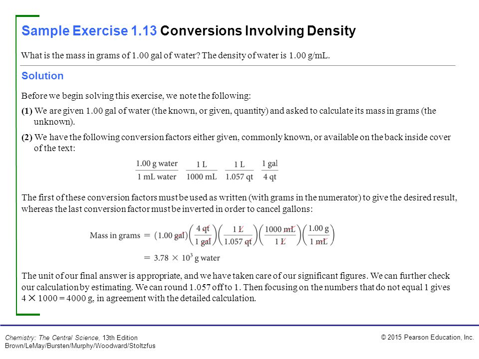 Sample Exercise 1.13 Conversions Involving Density