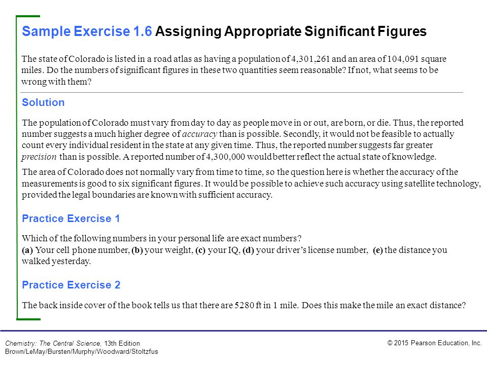 Sample Exercise 1.6 Assigning Appropriate Significant Figures