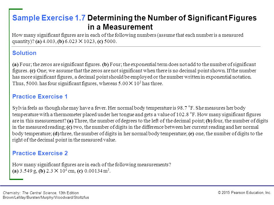 Sample Exercise 1.7 Determining the Number of Significant Figures in a Measurement