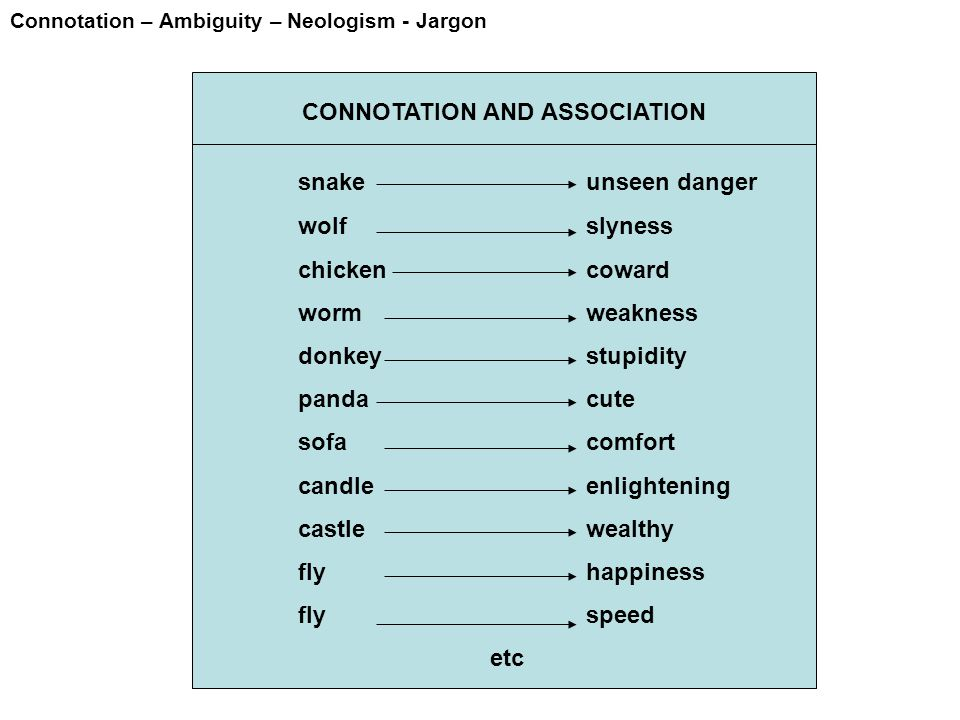 Connotation – Ambiguity – Neologism - Jargon