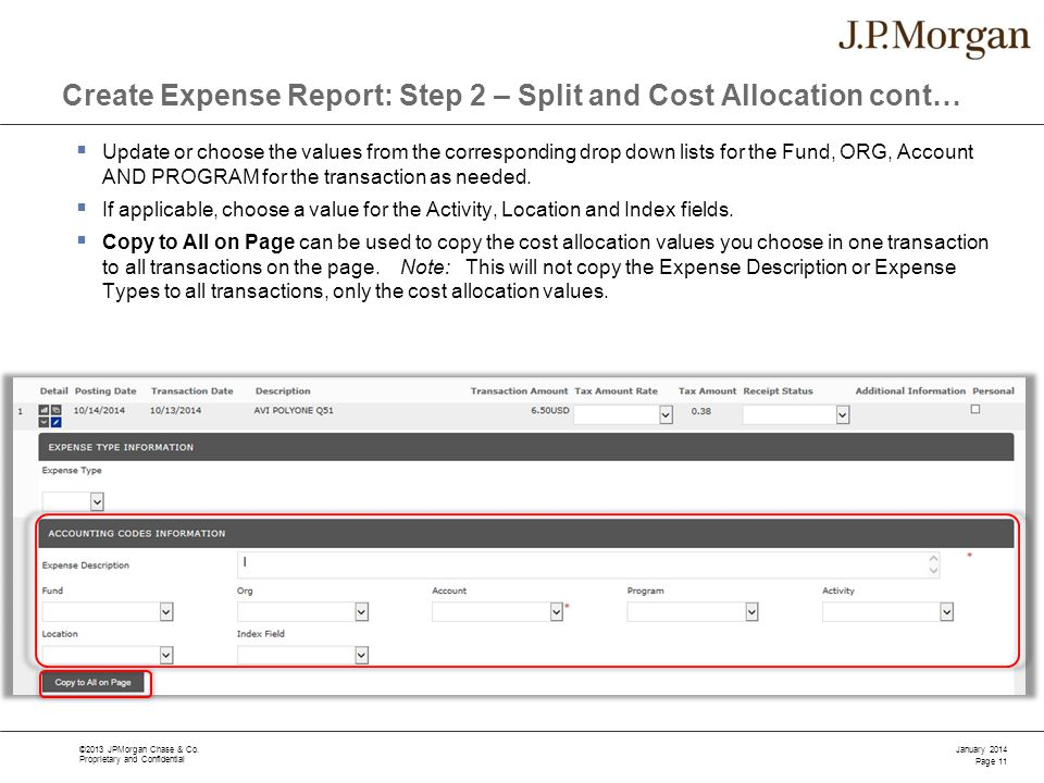 Create Expense Report: Step 2 – Split and Cost Allocation cont…