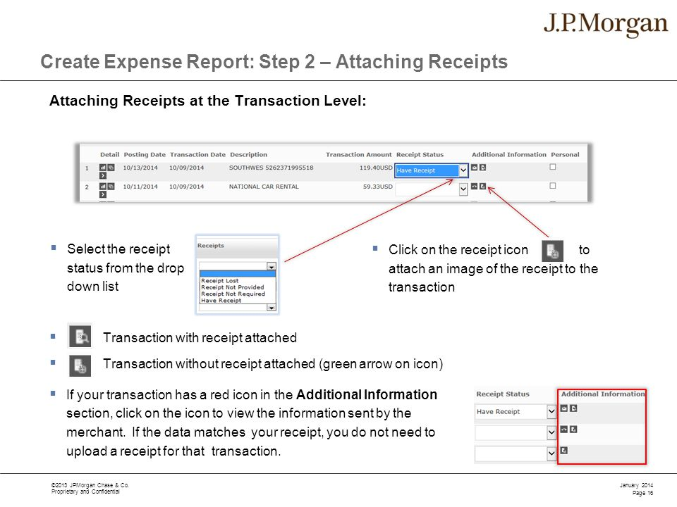 Create Expense Report: Step 2 – Attaching Receipts