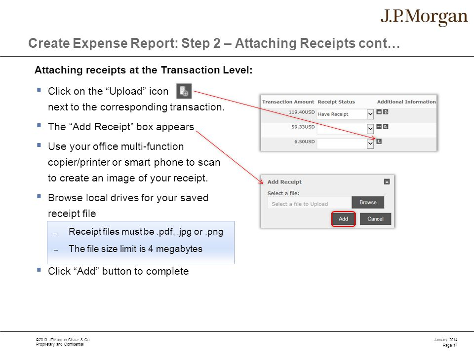 Create Expense Report: Step 2 – Attaching Receipts cont…