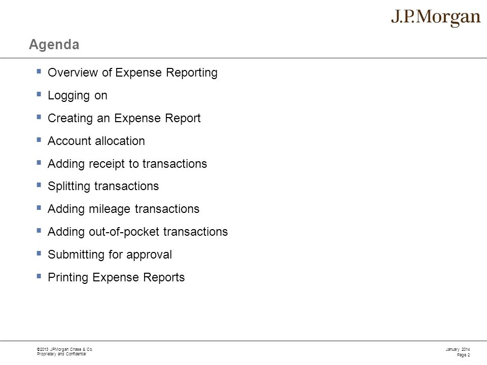Agenda Overview of Expense Reporting Logging on