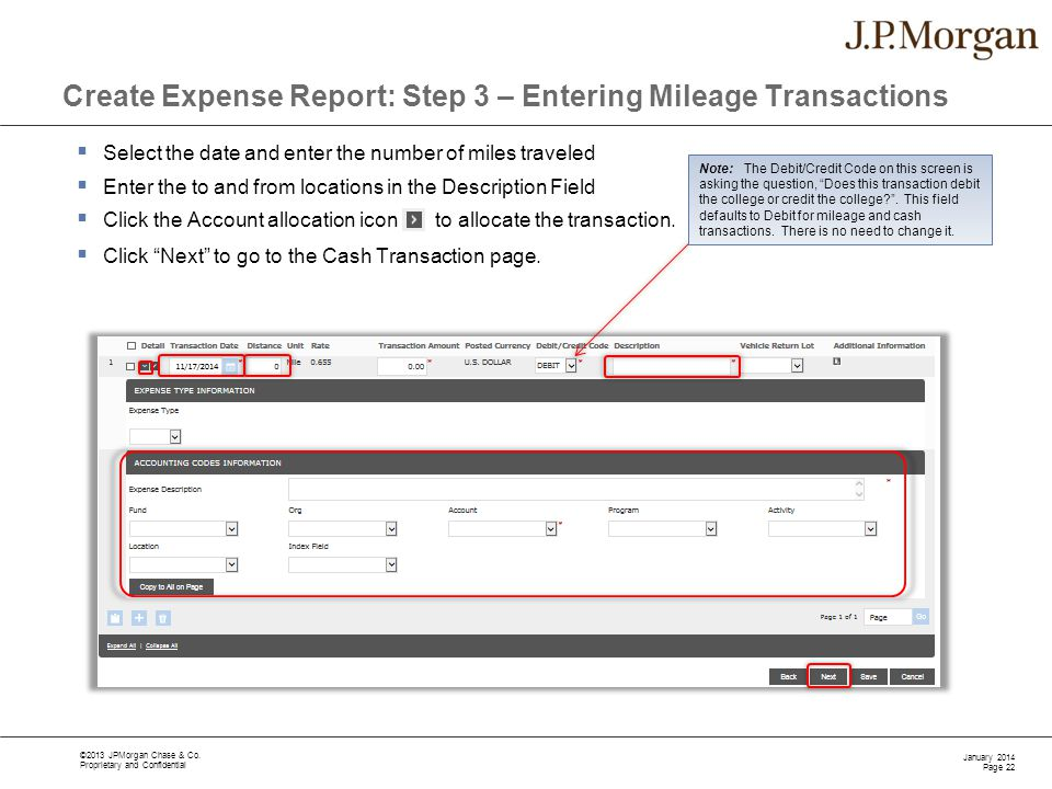 Create Expense Report: Step 3 – Entering Mileage Transactions