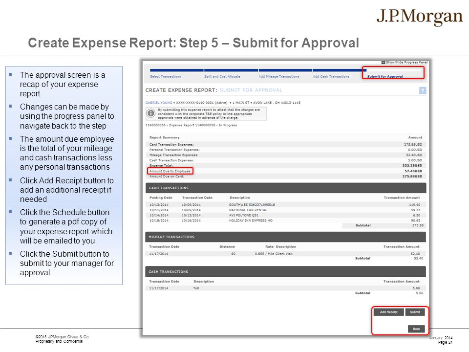 Create Expense Report: Step 5 – Submit for Approval