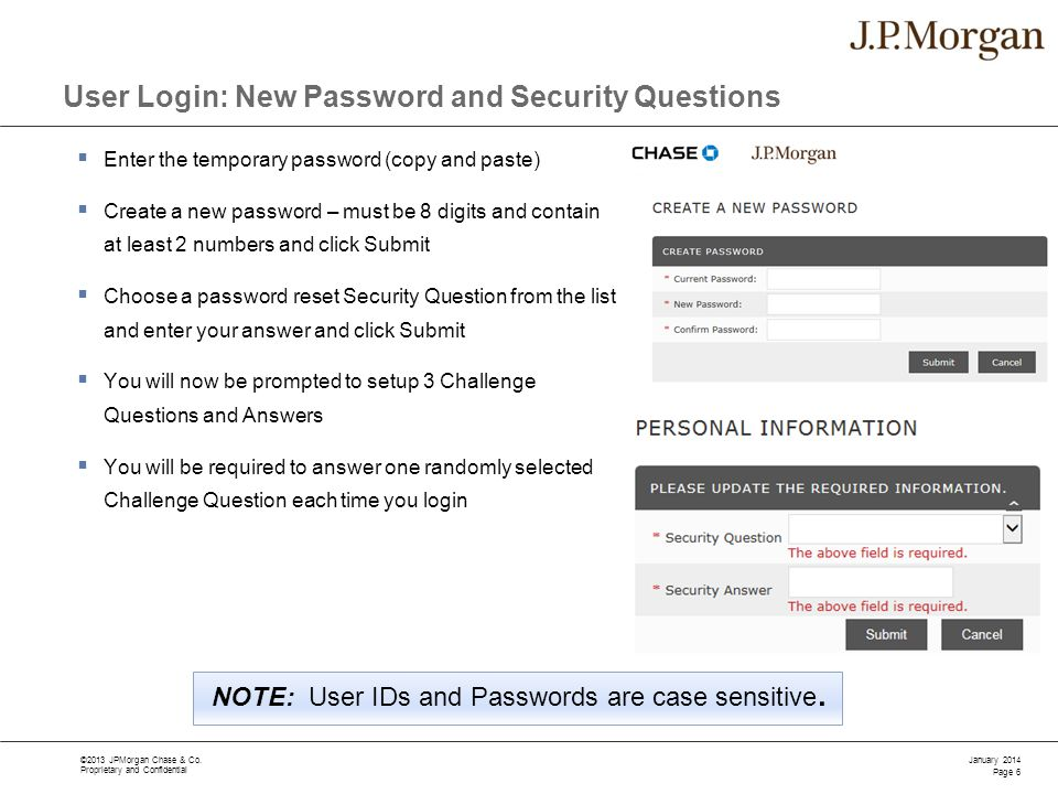 User Login: New Password and Security Questions