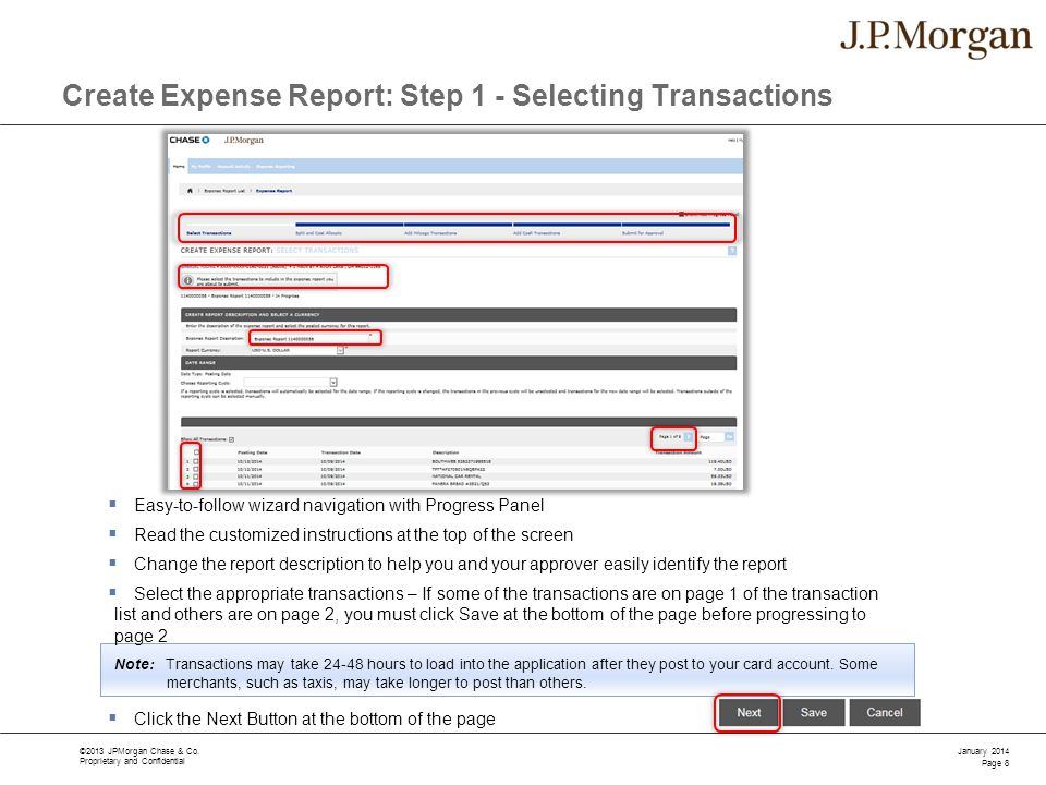 Create Expense Report: Step 1 - Selecting Transactions