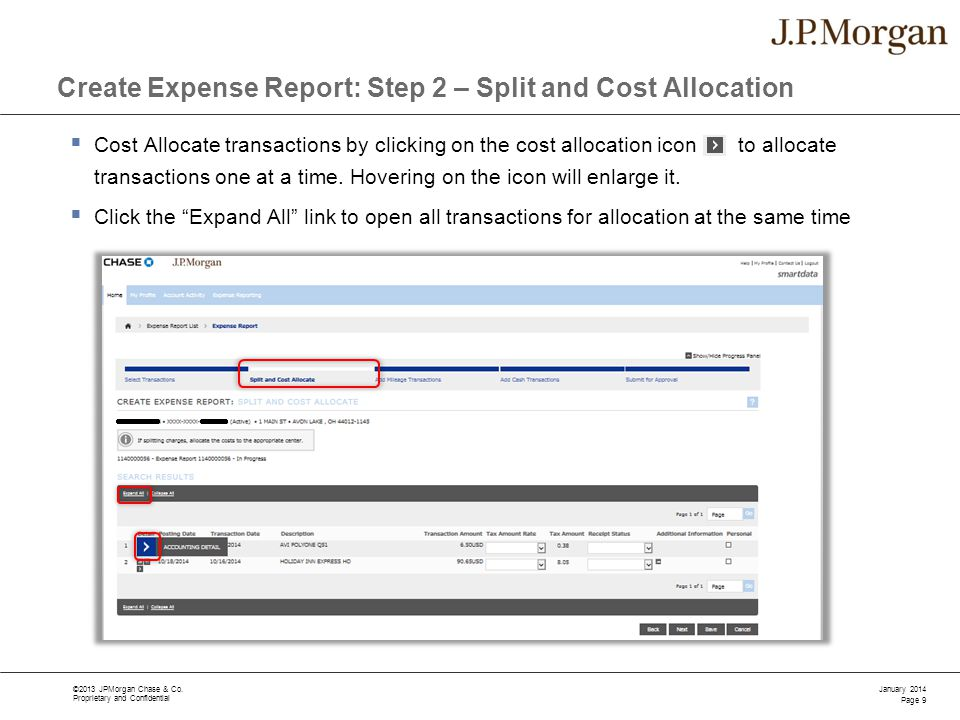 Create Expense Report: Step 2 – Split and Cost Allocation