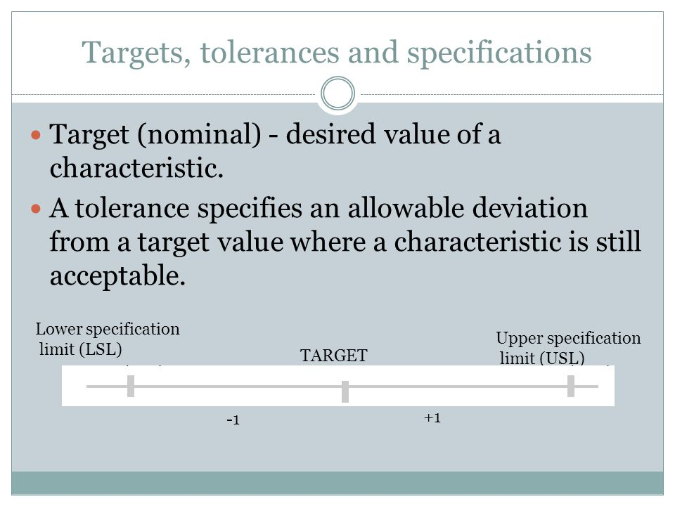 Targets, tolerances and specifications