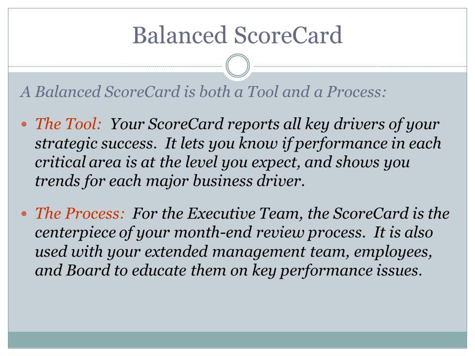 Balanced ScoreCard A Balanced ScoreCard is both a Tool and a Process: