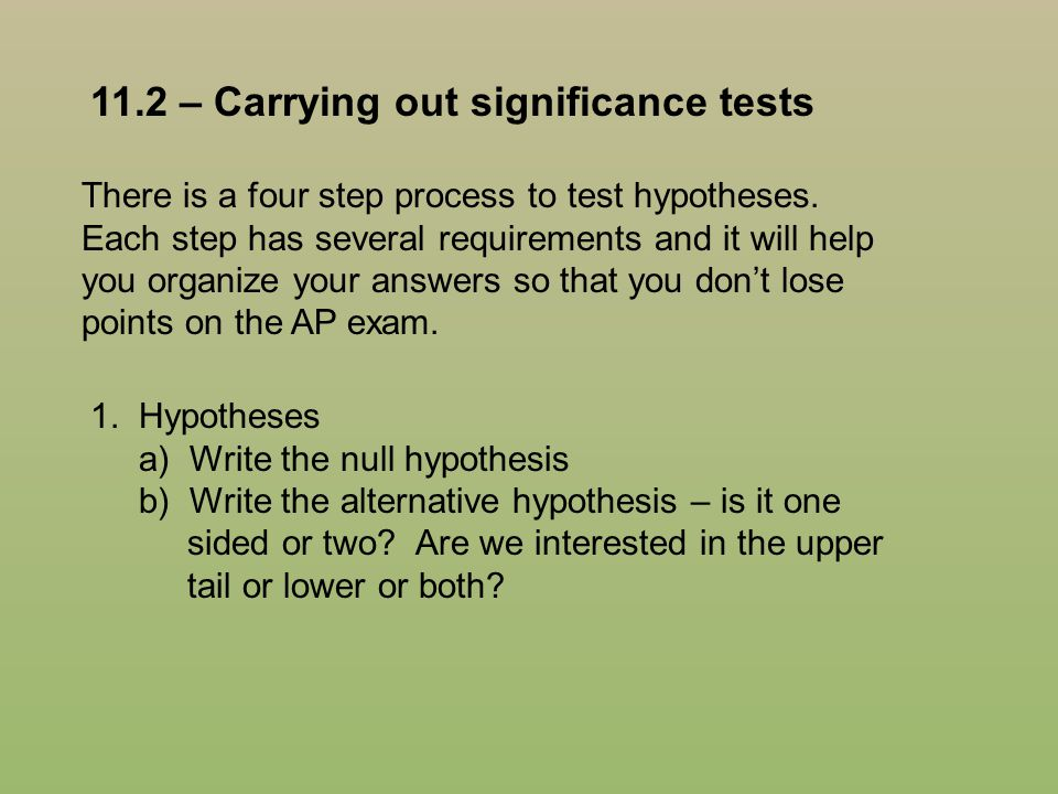 11.2 – Carrying out significance tests