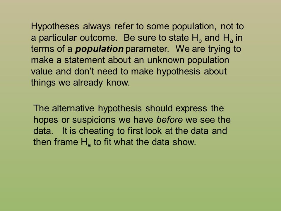 Hypotheses always refer to some population, not to a particular outcome. Be sure to state Ho and Ha in terms of a population parameter. We are trying to make a statement about an unknown population value and don't need to make hypothesis about things we already know.