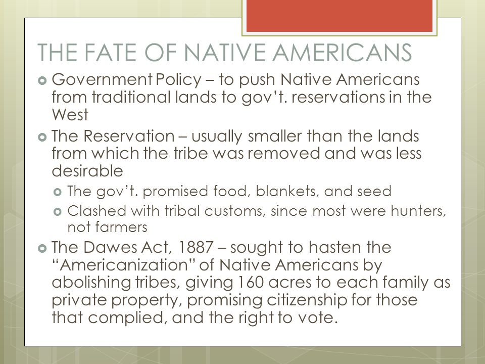 THE FATE OF NATIVE AMERICANS