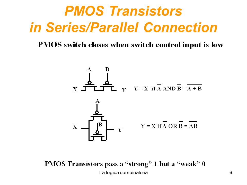PMOS Transistors in Series/Parallel Connection