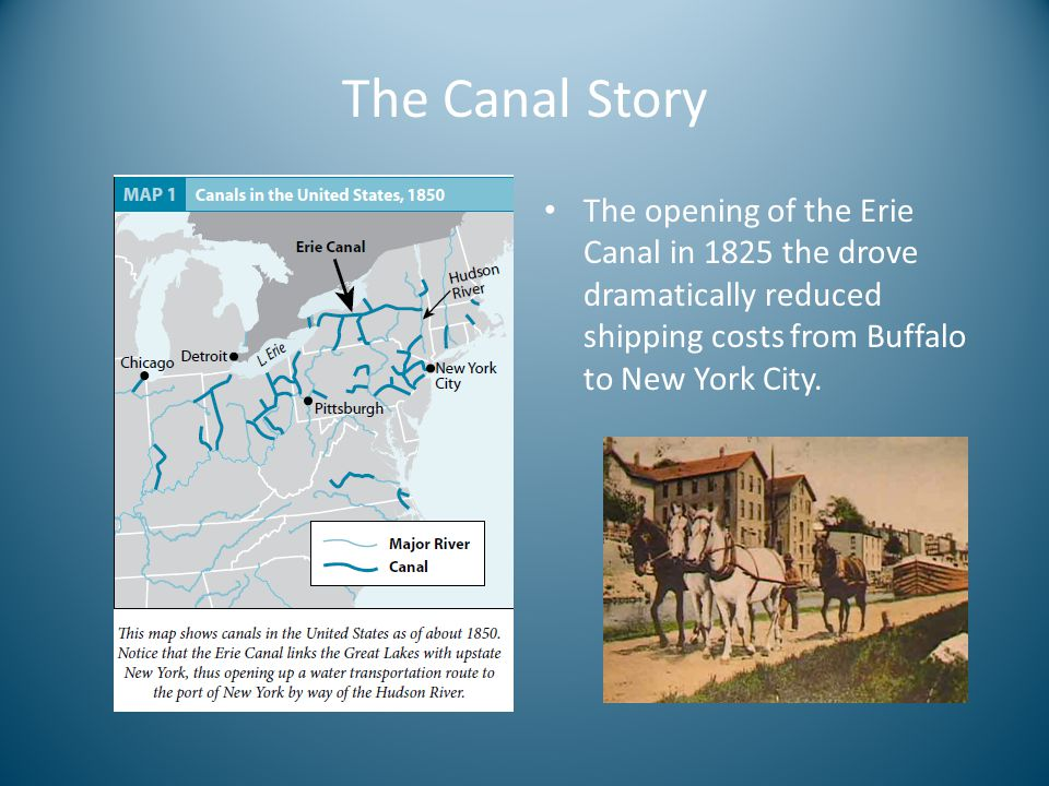 The Canal Story The opening of the Erie Canal in 1825 the drove dramatically reduced shipping costs from Buffalo to New York City.