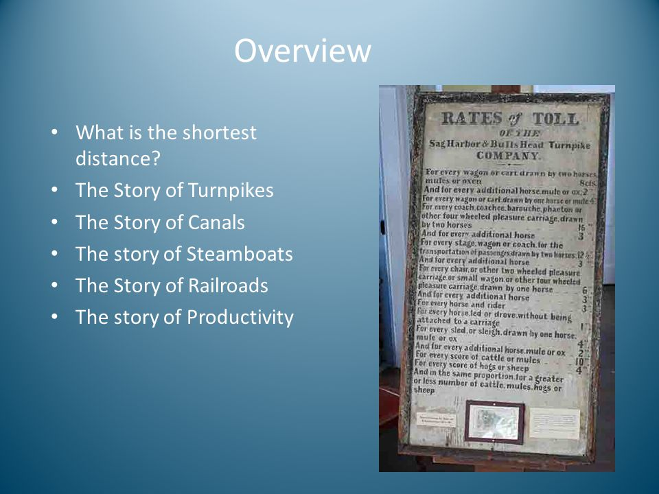 Overview What is the shortest distance The Story of Turnpikes