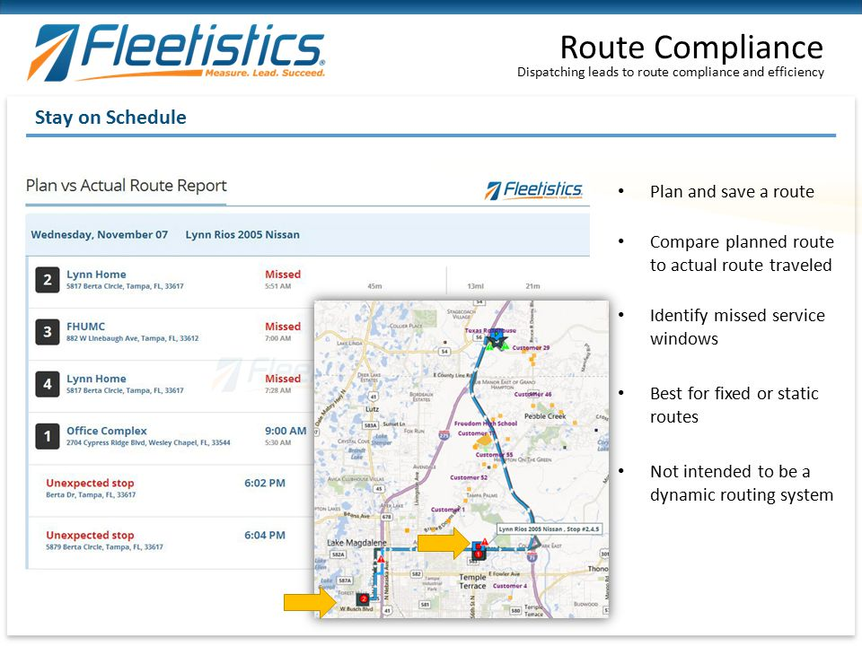 Route Compliance Stay on Schedule Plan and save a route