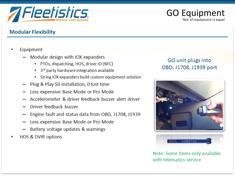 GO Equipment Modular Flexibility GO unit plugs into