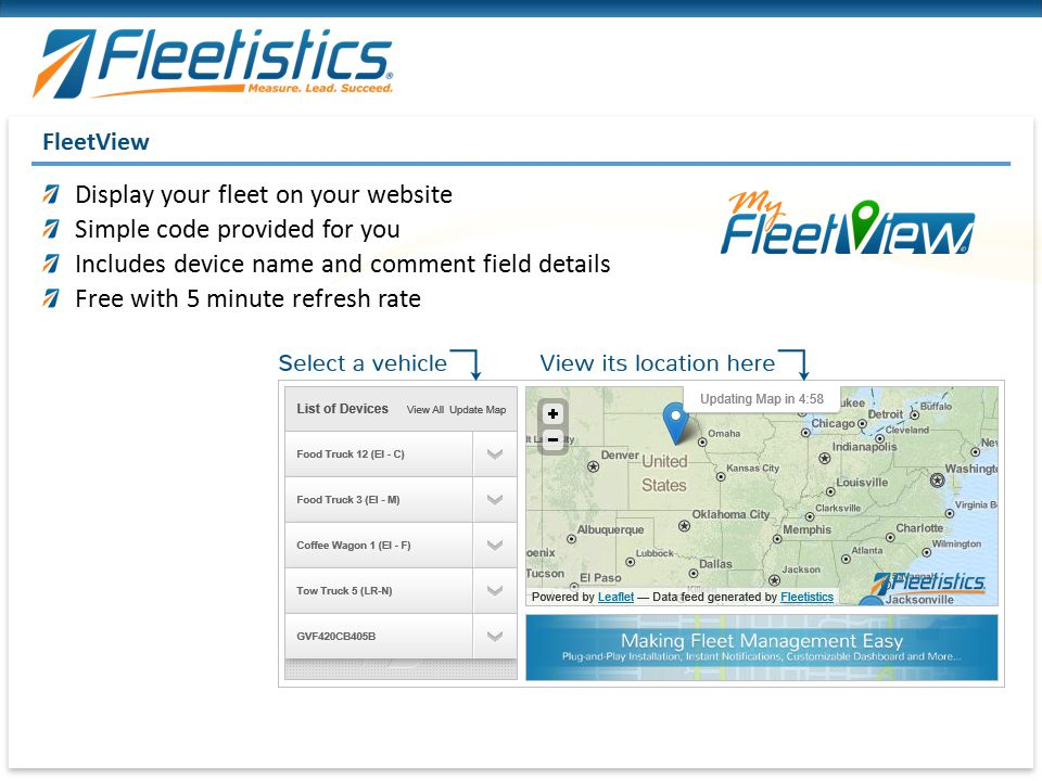 Display your fleet on your website Simple code provided for you