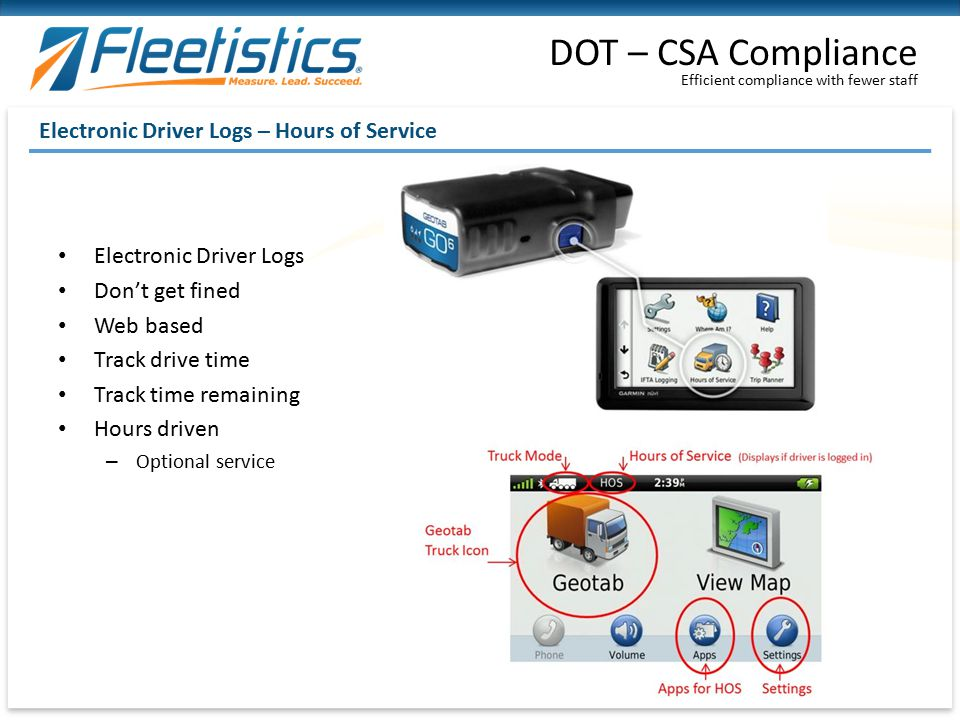 DOT – CSA Compliance Electronic Driver Logs – Hours of Service