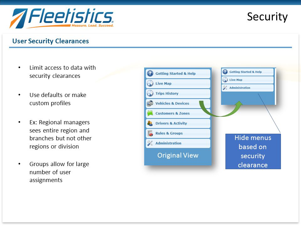 Hide menus based on security clearance