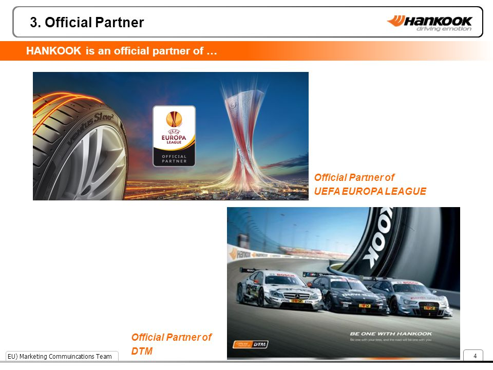 3. Official Partner HANKOOK is an official partner of …