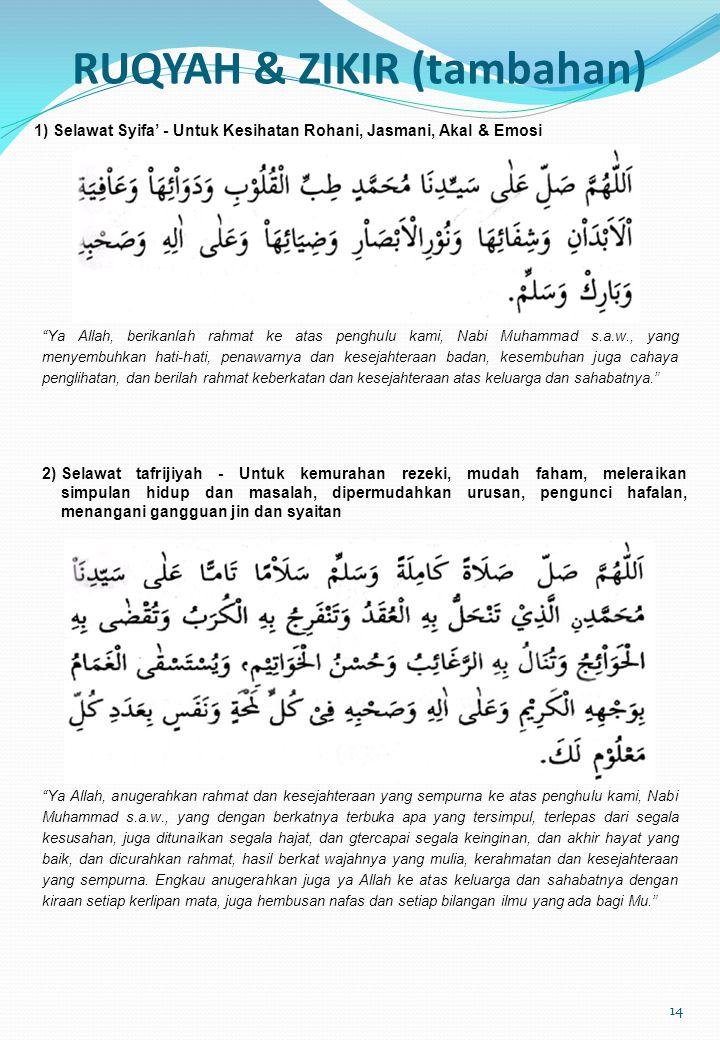 RUQYAH & ZIKIR (tambahan)