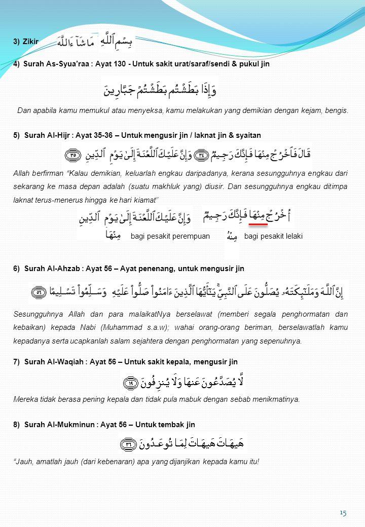3) Zikir 4) Surah As-Syua'raa : Ayat 130 - Untuk sakit urat/saraf/sendi & pukul jin.