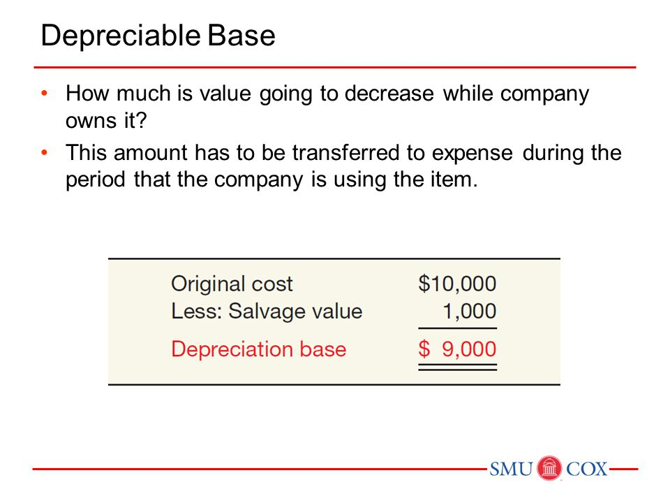 Depreciable Base How much is value going to decrease while company owns it