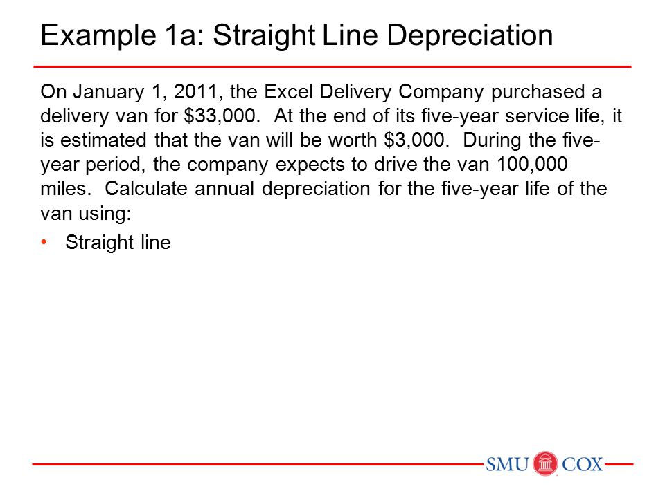 Example 1a: Straight Line Depreciation