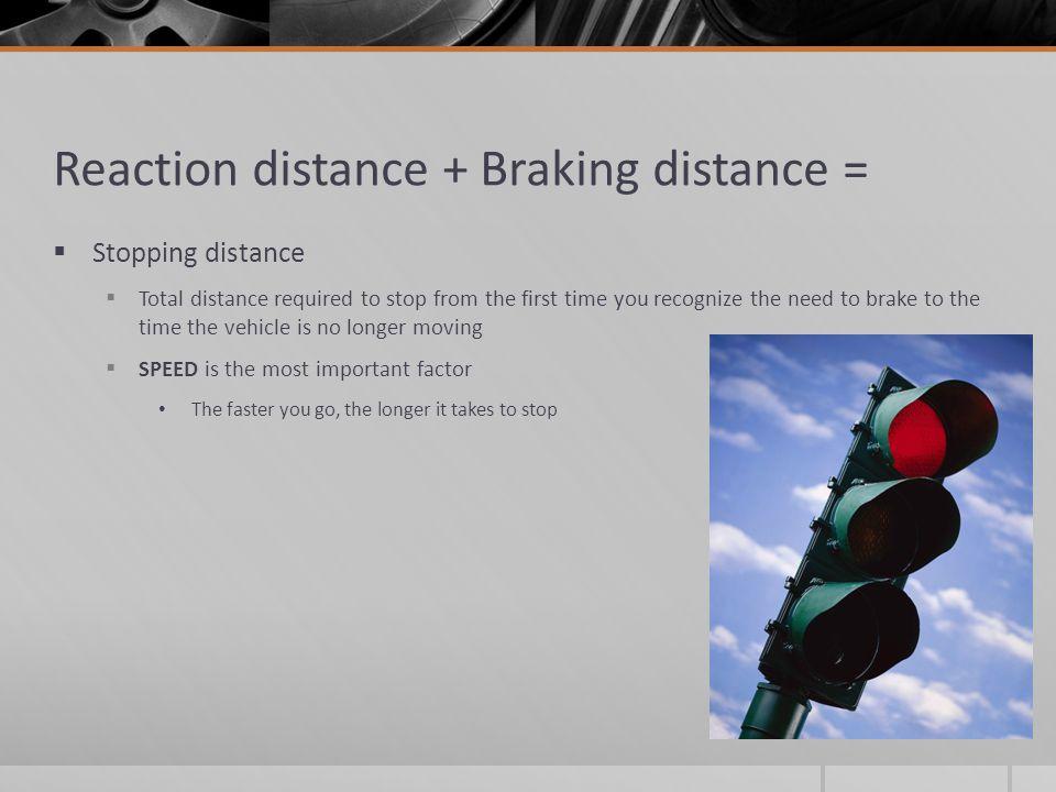 Reaction distance + Braking distance =