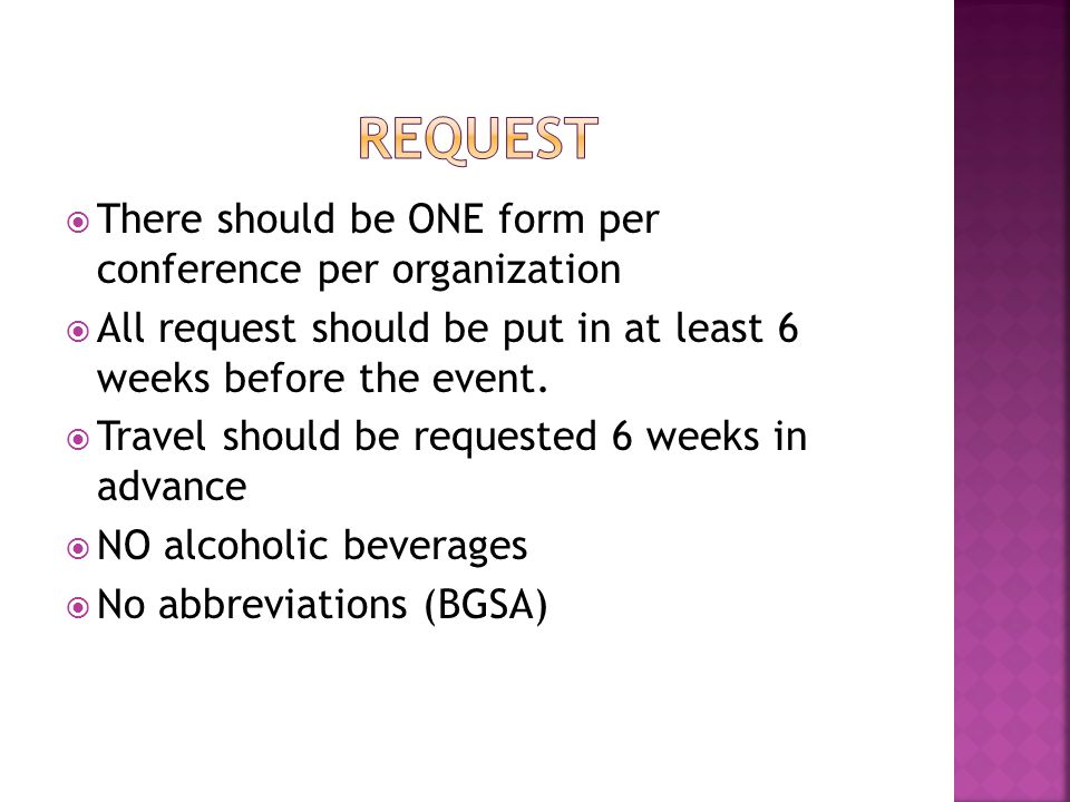 Request There should be ONE form per conference per organization