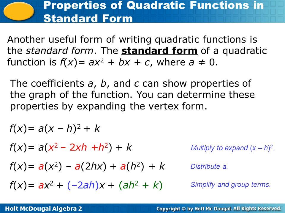 f(x)= a(x2) – a(2hx) + a(h2) + k