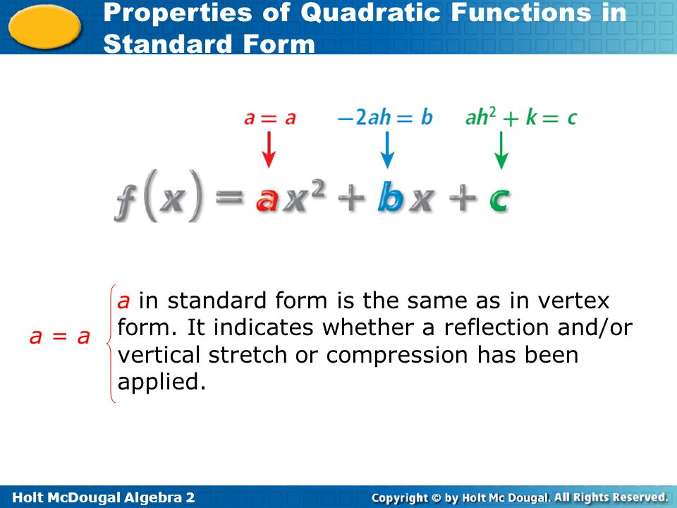 a in standard form is the same as in vertex form