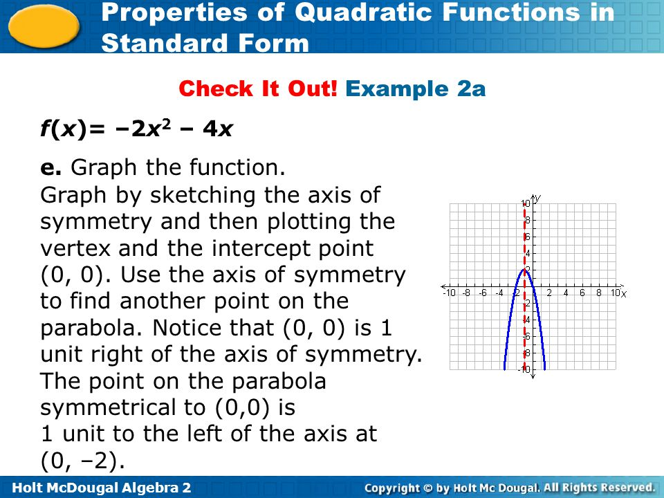 Check It Out! Example 2a f(x)= –2x2 – 4x. e. Graph the function.
