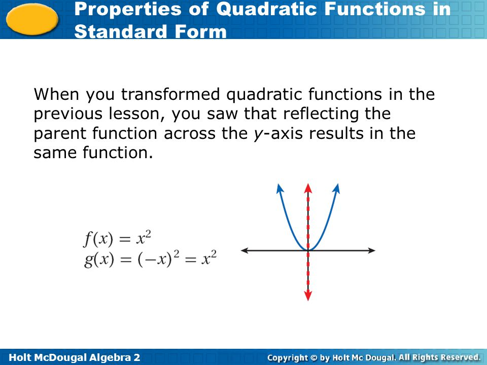 When you transformed quadratic functions in the previous lesson, you saw that reflecting the parent function across the y-axis results in the same function.