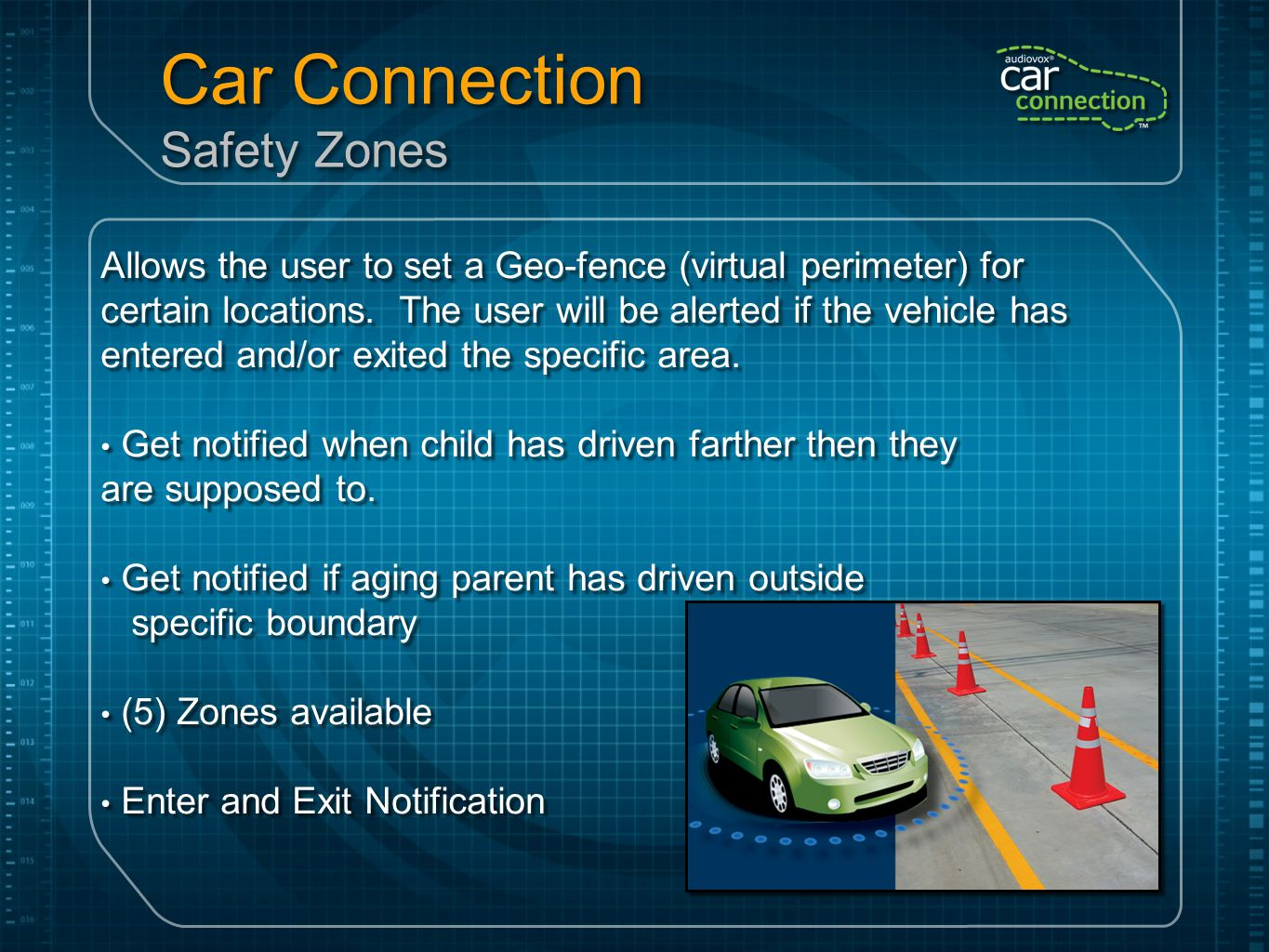 Car Connection Safety Zones