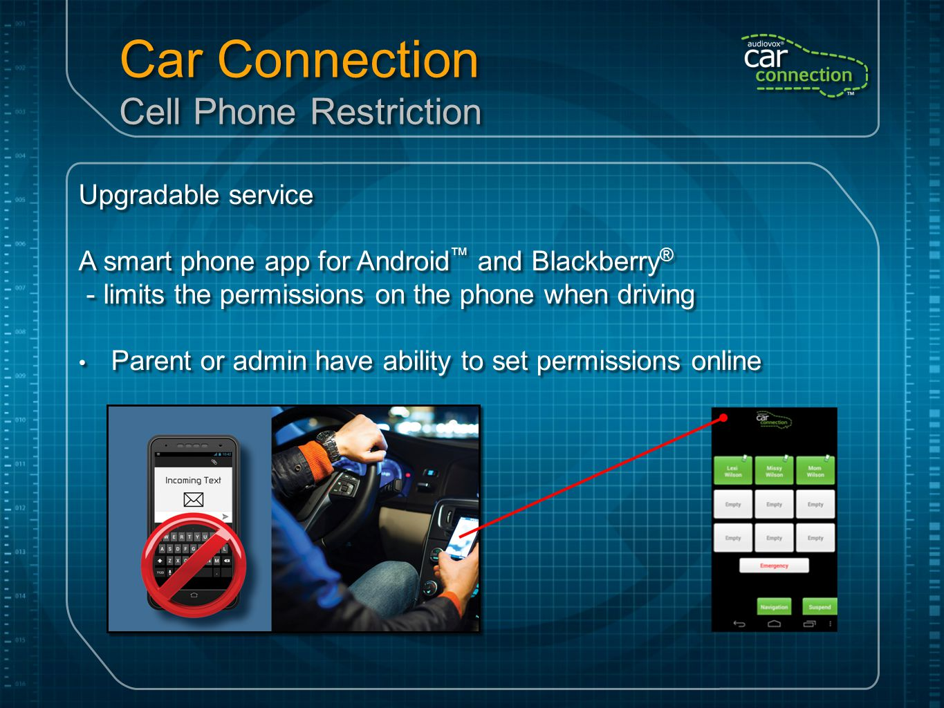 Car Connection Cell Phone Restriction