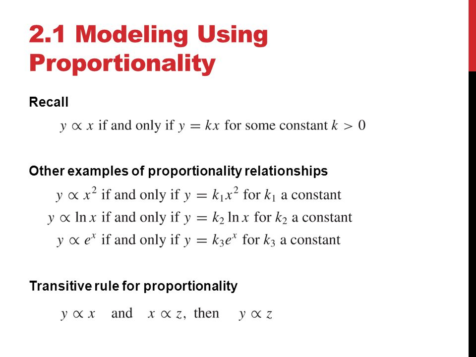 2.1 Modeling Using Proportionality