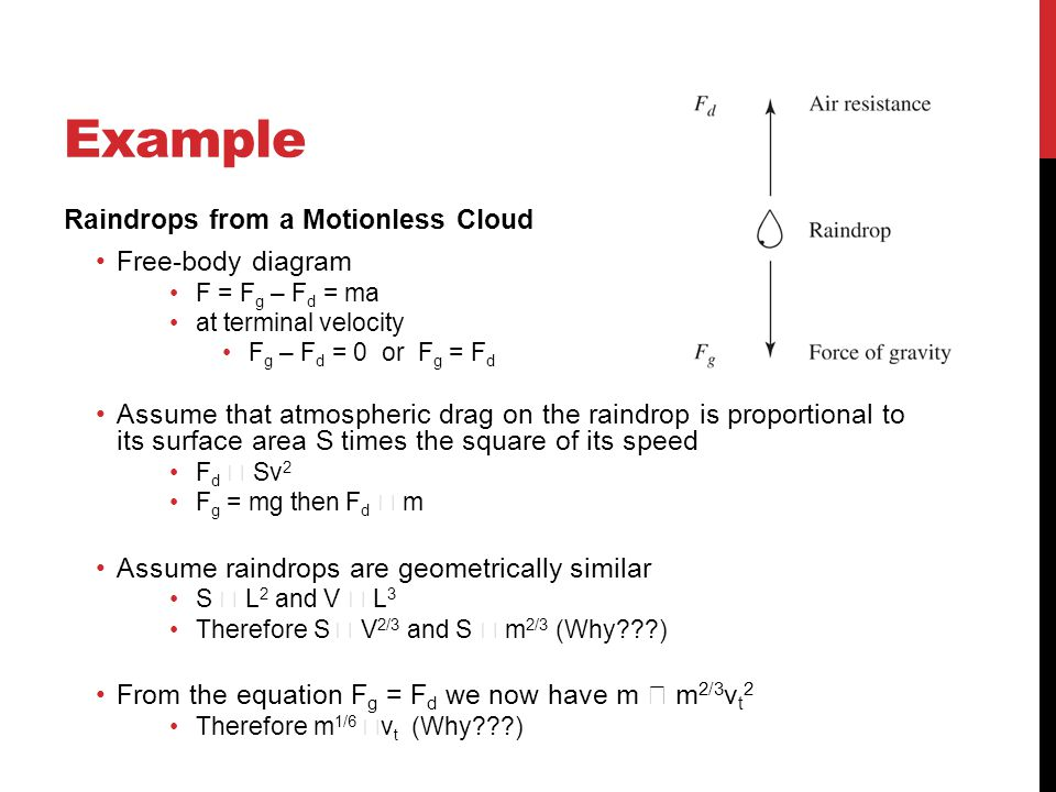 Example Raindrops from a Motionless Cloud Free-body diagram