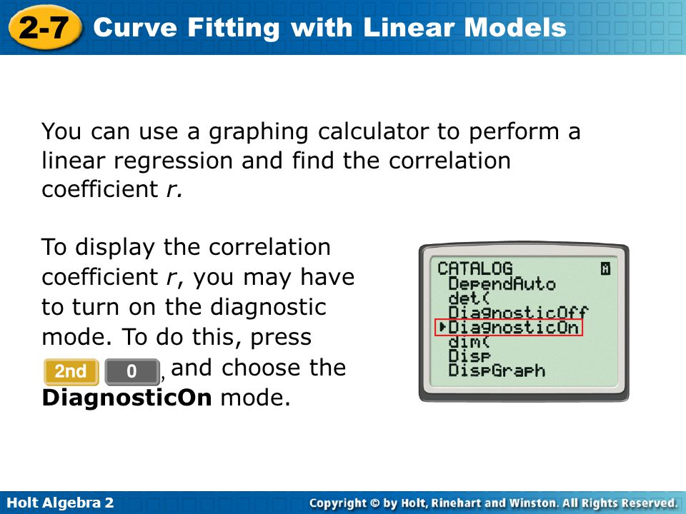You can use a graphing calculator to perform a linear regression and find the correlation coefficient r.