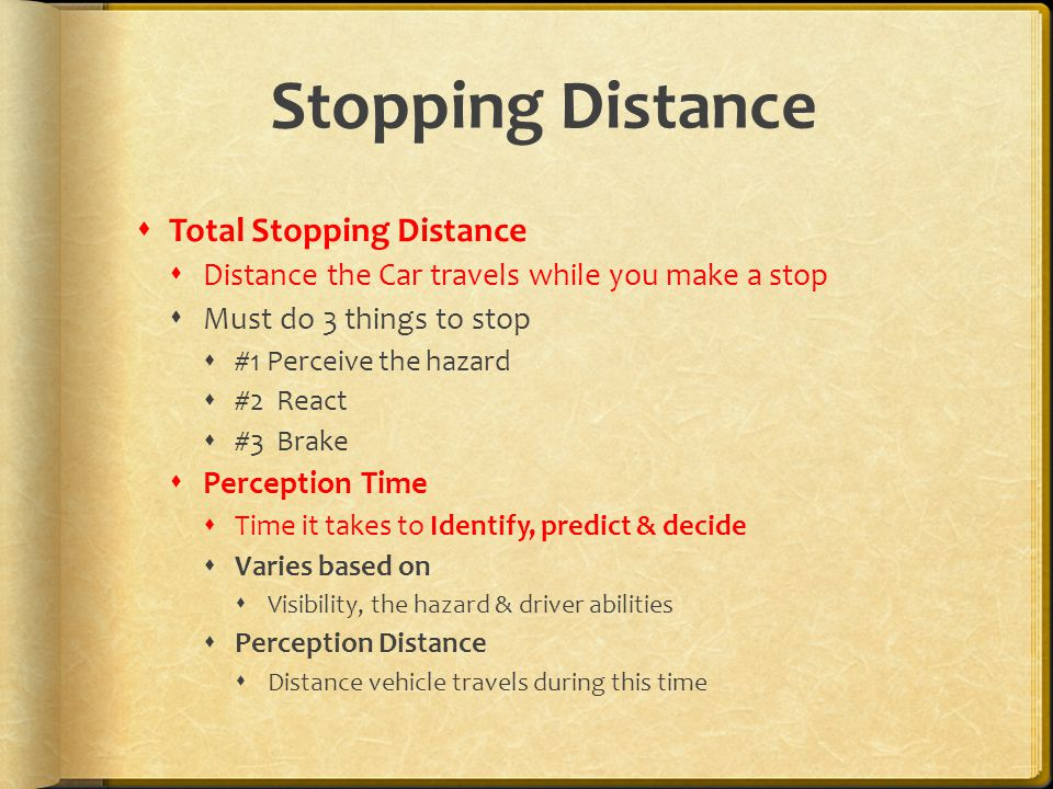 Stopping Distance Total Stopping Distance