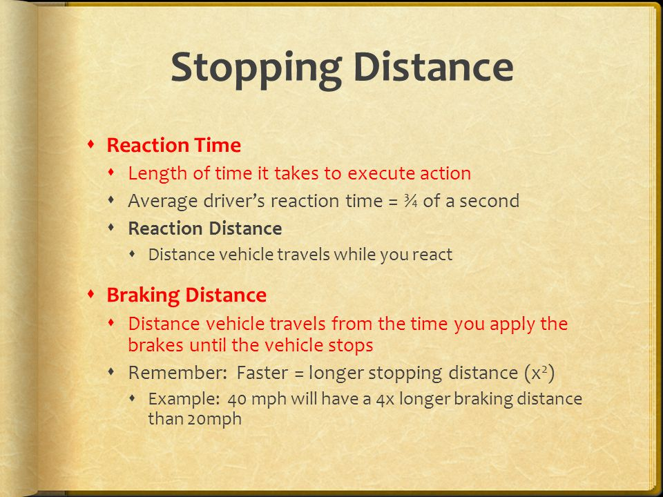 Stopping Distance Reaction Time Braking Distance