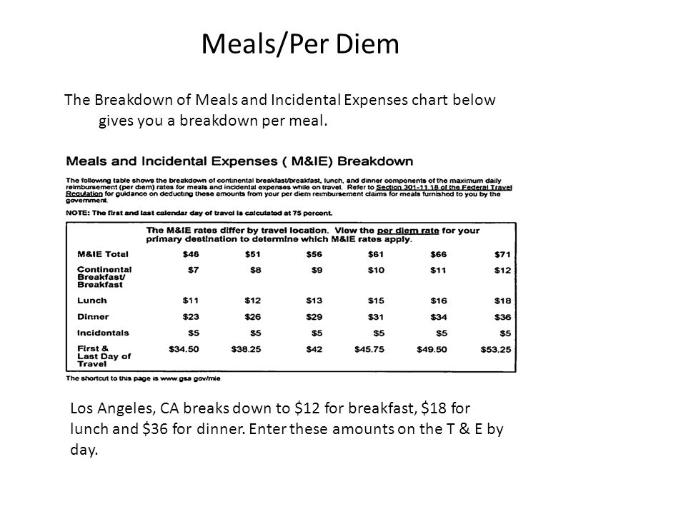 Meals/Per Diem The Breakdown of Meals and Incidental Expenses chart below gives you a breakdown per meal.
