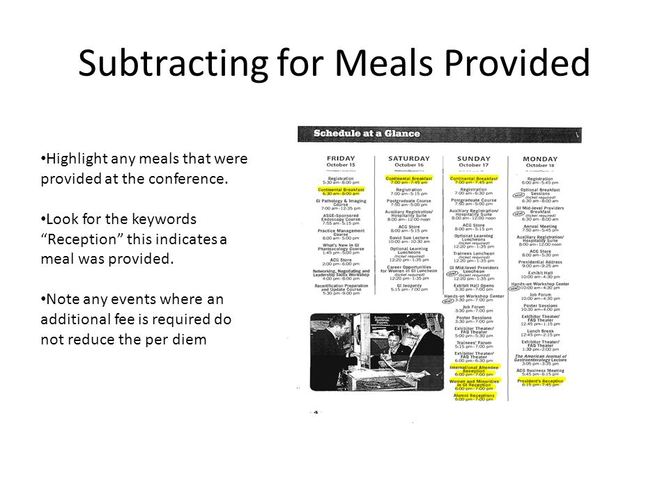 Subtracting for Meals Provided