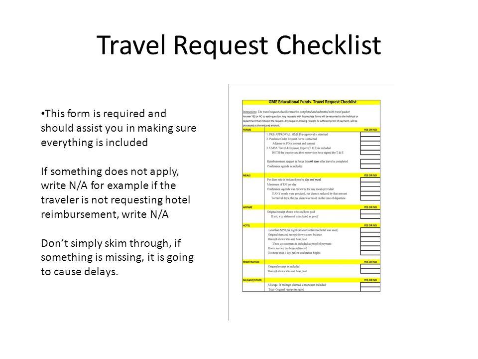 Travel Request Checklist